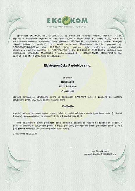 Smlouva se společností EKO-KOM, a.s.