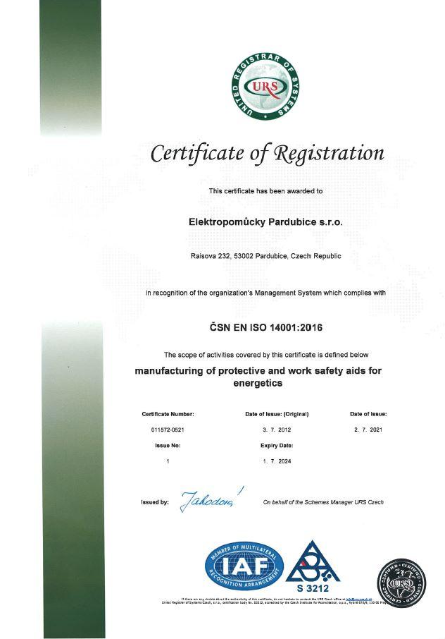 Certifikát ČSN EN ISO 14001:2016